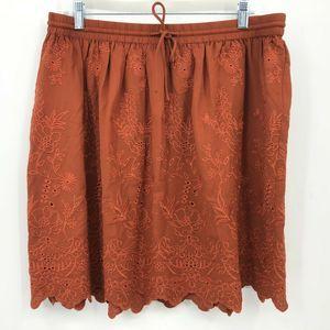 LOFT Skirt Large Copper Floral Embroidered